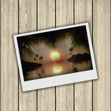 3D vintage photograph on wooden background Stock Photography