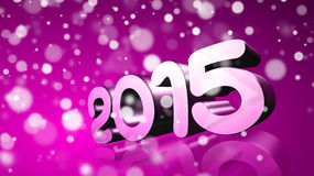 2015 in 3D on violet background Royalty Free Stock Photo
