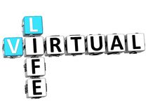 3D Virtual Life Crossword cube words. On white background Royalty Free Stock Image