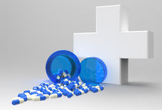 3d virtual medical symbol with capsule pills Stock Photos