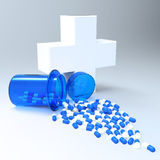 3d virtual medical symbol with capsule pills Stock Photography