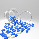 3d virtual medical symbol with capsule pills vector illustration