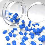3d virtual medical symbol with capsule pills. As concept stock photography