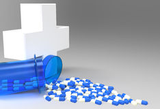 3d virtual medical symbol with capsule pills Royalty Free Stock Photo