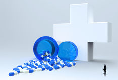 3d virtual medical symbol with capsule pills Royalty Free Stock Photography