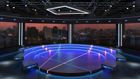 3d virtual news studio green screen background