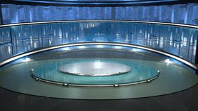 Virtual exposition. 3D virtual show room exposition place stock photo