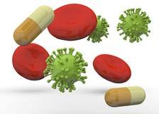 3D virus, Rode bloedcellen en Geneeskunde - Vector Illustratie