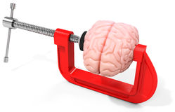3d vise and brain,  stress concept Royalty Free Stock Photos