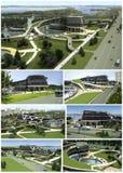 3D visualisatie van het ecogebouw met bionische vorm en energy-efficient technologieën. Stock Afbeelding