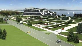 3D visualisatie van het ecogebouw met bionische vorm en energy-efficient technologieën. Stock Foto's