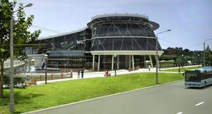 3D visualisatie van het ecogebouw met bionische vorm en energy-efficient technologieën. Stock Foto