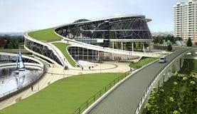 3D visualisatie van het ecogebouw met bionische vorm en energy-efficient technologieën. Royalty-vrije Stock Afbeelding