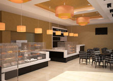 3D visualization of a bakery interior design. 3D generated visualization of interior design for a bakery Royalty Free Stock Image