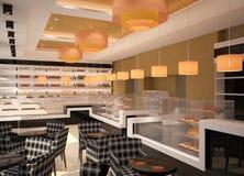 3D visualization of a bakery interior design. 3D generated visualization of interior design for a bakery Stock Photos