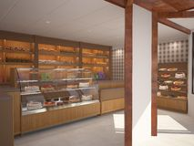 3D visualization of a bakery interior design. 3D generated image of a concept for a bakery Stock Images