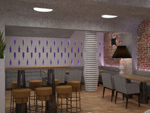 3D visualization of a bar interior design Royalty Free Stock Photos