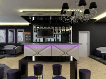 3D visualization of a bar interior design Stock Image