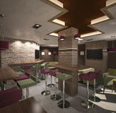 3D visualization of a bar interior design Stock Photography