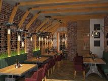 3D visualization of a bar interior design Stock Photos