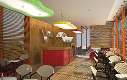 3D visualization of a cafe interior design. 3D generated image of a concept for a cafe interior Stock Photography
