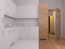 3D visualization collage of interior design kitchen Stock Photos