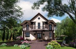 3D visualization. Cottage in a light shade of trees. There are flowers and greens all around royalty free stock photos