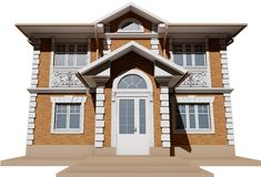 A bottom view of a symmetrical brick cottage. 3D rendering Royalty Free Stock Images