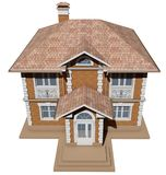 A top view of a symmetrical brick cottage. 3D rendering Royalty Free Stock Image