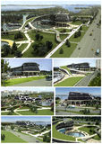 3D visualization of the eco building with bionic form and energy-efficient technologies. Stock Image