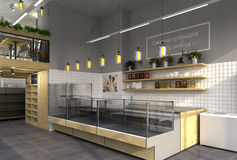 3d visualization of food store with a cafe inside. Public interior in the loft style.  royalty free illustration