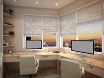 3d visualization Home Office Stock Photo