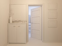 3D visualization of interior design entrance hall Royalty Free Stock Photography