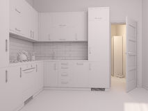 3D visualization of interior design kitchen Stock Images