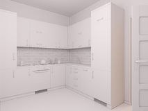 3D visualization of interior design kitchen Royalty Free Stock Photos