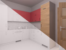 3D visualization of interior design kitchen Stock Photo