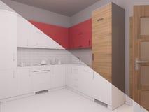 3D visualization of interior design kitchen Stock Photo