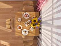 3D visualization of interior design kitchen in a studio apartmen Stock Photos