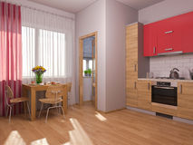 3D visualization of interior design kitchen in a studio apartment Stock Image