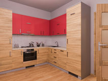 3D visualization of interior design kitchen in a studio apartment Royalty Free Stock Photos