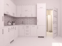 3D visualization of interior design kitchen in a studio apartment Royalty Free Stock Image