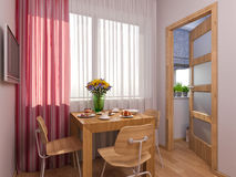 3D visualization of interior design kitchen in a studio apartment Stock Photography