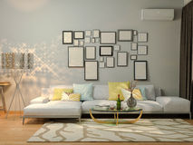 3D visualization of interior design living in a studio apartment Royalty Free Stock Photos