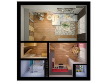 3D visualization of interior design a studio apartment. Stock Photography