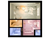 3D visualization of interior design a studio apartment. Royalty Free Stock Photography