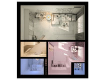 3D visualization of interior design a studio apartment. Royalty Free Stock Image