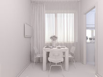 3D visualization of interior designkitchen in a studio apartment Stock Photography