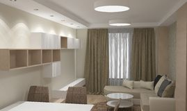 3D visualization of a liviing room interior design Royalty Free Stock Photography