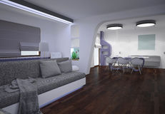 3D visualization of a liviing room interior design Royalty Free Stock Image