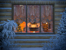3D visualization of a New Year's interior from a house window fr Royalty Free Stock Photography